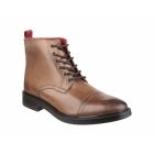 Base London ETON Mens Burnished Leather Derby Ankle Boot Tan