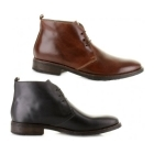 Base London GREENWICH Mens Waxy Leather Chukka Boots Brown