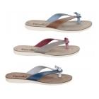 Fantasy Sandals KOS Ladies Open Back Flip Flop Sandals Tan/Blue