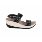Fantasy Sandals MYKONOS Ladies Halter Back Wedge Heel Sandals Black