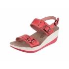 Fantasy Sandals MYKONOS Ladies Halter Back Wedge Heel Sandals Red
