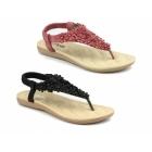 Divaz BRITNEY Ladies Slip-On Toe Post Sandals Red