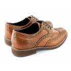 Gucinari VINCENTI Mens Lace Up Leather Brogue Derby Shoes Tan