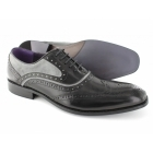 Gucinari AZOR Mens Lace Up Leather/Suede Brogue Oxford Shoes Black/Grey