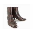 Shuperb ENRIQUE Mens Cuban Heel Reptile Leather Boots Brown