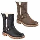 Divaz NARDO Ladies Faux Leather Fluffy Boots Brown