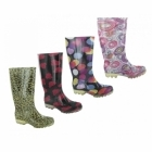 Cotswold PVC LONG WELLY Ladies Patterned Wellington Boots Swirls