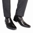 Base London LAPEL Mens Leather Zipper Chisel Toe Boot Waxy Black