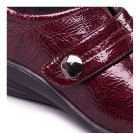 Padders SIMONE Ladies Patent Velcro E/EE Dual Wide Shoes Burgundy