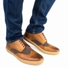 Base London ANGLO Mens Leather Brogue Shoes Tan Tweed