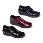 Padders SIMONE Ladies Patent Touch Fasten E/EE Dual Wide Shoes Black