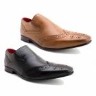 Base London POCKET Mens Leather Slip-on Brogue Shoes Tan