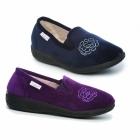 Dr Keller GLADYS Ladies Textile Memory Foam Slippers Navy