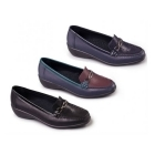 Padders ELLEN Ladies Leather Extra Wide Moccasin Loafers Navy/Combi