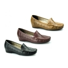 Comfort Plus AVELINE Ladies Faux Leather Wide Fit Wedge Loafers Tan