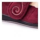 Padders HUSH Ladies Microsuede Extra Wide Velcro Slippers Burgundy