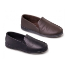 Padders BEN Mens Leather Wide Fit Full Slippers Black