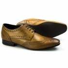 Ikon RITCHIE Mens Leather Lace Up Brogue Shoes Tan