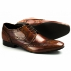 Ikon RITCHIE Mens Leather Lace Up Brogue Shoes Hi-Shine Tan