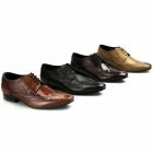 Ikon RITCHIE Mens Leather Lace Up Brogue Shoes Bordo