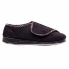 Padders CHRIS Mens Microsuede Velcro Wide Fit Full Slippers Black