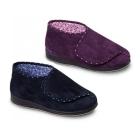 Padders CHERISH Ladies Extra Wide Fit Velcro Full Slippers Navy