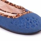 Padders SAVANNAH Ladies Wide Fit Ballerina Slippers Denim Blue