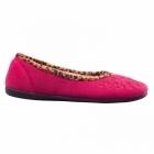 Padders SAVANNAH Ladies Felt Wide Fit Ballerina Slippers Cerise