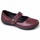 Padders POEM Ladies Extra Wide Plus Fit Touch Fasten Shoes Burgundy