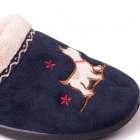 Padders SCOTTY Ladies Microsuede Extra Wide Fit Mule Slippers Navy
