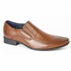 Route 21 BRETT Mens Leather Lined Tramline Chisel Toe Shoes Tan