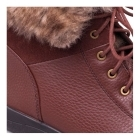 Padders GINA Ladies Leather Wide (E) Fit Faux Fur Trim Boots Tan