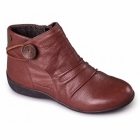 Padders CARNABY Ladies Leather Extra Wide Fit Zip Boots Tan