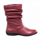 Padders CHELSEA Ladies Leather Extra Wide Fit Zip Calf Boots Burgundy