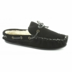 Comfort Plus WASHOE Ladies Leather Faux Fur Lined Moccasin Slippers Black