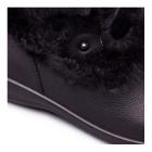 Padders KIM Ladies Leather Extra Wide Fit Faux Fur Trim Boots Black