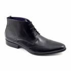 Gucinari EDRIS Mens Leather Lace-Up Pointed Brogue Boots Black