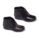 Padders TANYA Ladies Leather E/EE Wide Fit Zip Ankle Boots Black