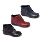 Padders SHIRLEY Ladies Leather Velcro Wide E/EE Boots Wine