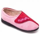 Padders HUG Ladies Microsuede Velcro Extra Wide (EE) Fitting Slippers Pink/Red
