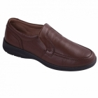 Padders LEO Mens Leather Slip-On Extra Wide G/H Loafers Tan