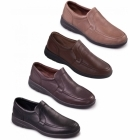 Padders LEO Mens Leather Slip-On Extra Wide G/H Loafers Dark Brown