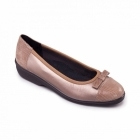 Padders FELICITY Ladies Leather EE Extra Wide Ballerina Shoes Pewter
