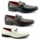 Giovanni FABIANO Mens Faux Leather Reptile Loafers White