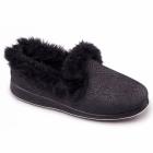 Padders LUXURY Ladies Microsuede Extra Wide (EE) Fit Slippers Black