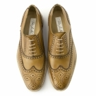 Paco Milan LUCIEN Mens Leather Oxford Brogue Shoes Tan