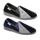 Dunlop WINSTON Mens Velour Twin Gusset Slippers Navy/Grey