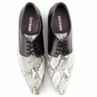Gucinari DANTE Mens Leather Derby Shoes Black/Python
