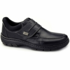 Rieker 19952-02 Mens Leather Touch Fasten Comfort Shoes Black