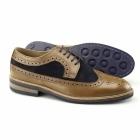 Gucinari FRANKIE Mens Leather & Suede Brogue Shoes Tan/Navy